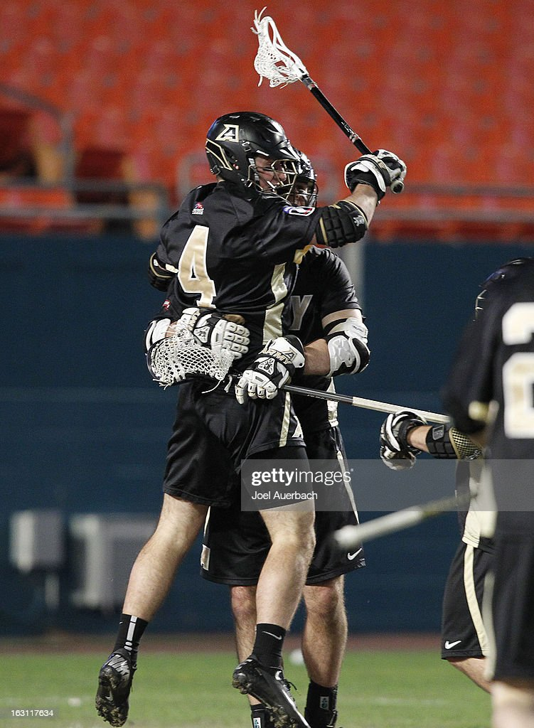 Andrew Boyd #4 of the Army Black Knights celebrates his goal against the Michigan Wolverines during the 2013 Orange Bowl Lacrosse Classic on March 2, 2013 at SunLife Stadium in Miami Gardens, Florida. Army defeated Michigan 12-1.