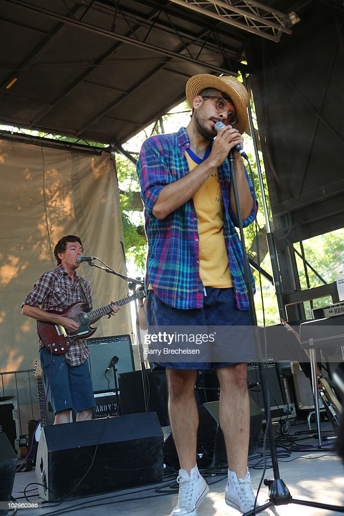 Andrew Broder and Jonathan 'Yoni' Wolf of WHY perform during the 2010 Pitchfork Music Festival at Union Park on July 17 2010 in Chicago Illinois