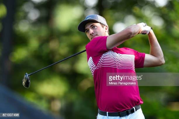 Andrew Buchanan hits his tee on the first hole during round three of the Mackenzie Investments Open at Club de Golf Les Quatre Domaines on July 22...