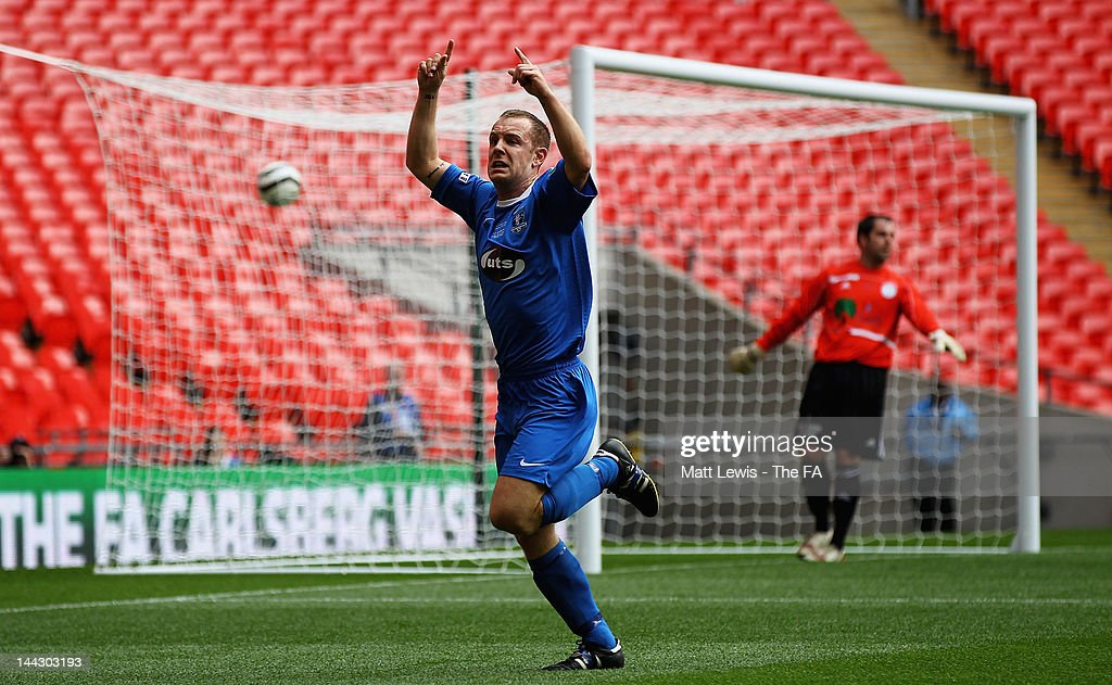 Andrew Bulford of Dunston UTS celebrates his goal during the FA Carlsberg Vase Final between Dunston UTS and West Auckland Town at Wembley Stadium on May 13, 2012 in London, England.