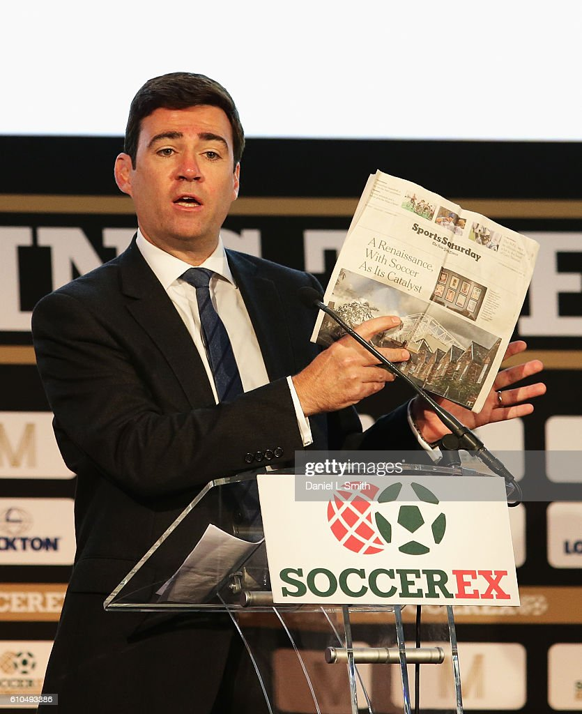 Andrew Burnham, Shadow Home Secretary talks during day 1 of the Soccerex Global Convention 2016 at Manchester Central Convention Complex on September 26, 2016 in Manchester, England.