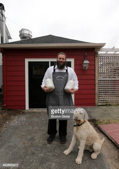 Andrew Bushell owner of Marblehead Salt Co and his dog Theo