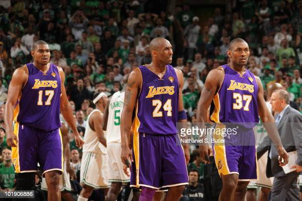 Andrew Bynum Kobe Bryant and Ron Artest of the Los Angeles Lakers during Game Three of the 2010 NBA Finals against the Boston Celtics on June 8 2010...
