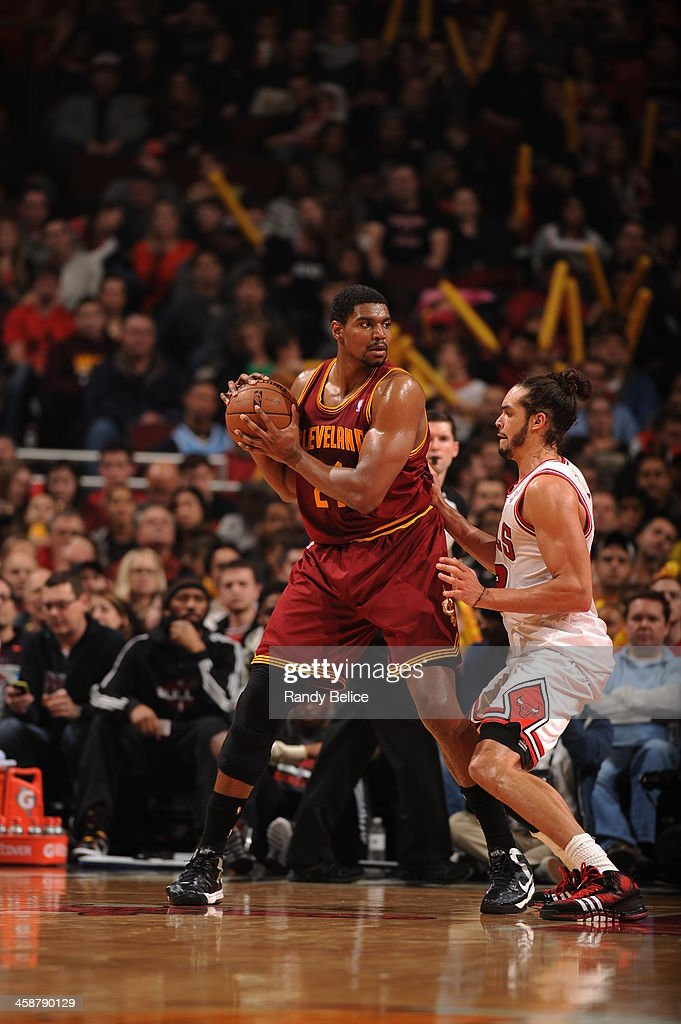 <a gi-track='captionPersonalityLinkClicked' href=/galleries/search?phrase=Andrew+Bynum&family=editorial&specificpeople=630695 ng-click='$event.stopPropagation()'>Andrew Bynum</a> #21 of the Cleveland Cavaliers controls the ball against the Chicago Bulls on December 21, 2013 at the United Center in Chicago, Illinois.