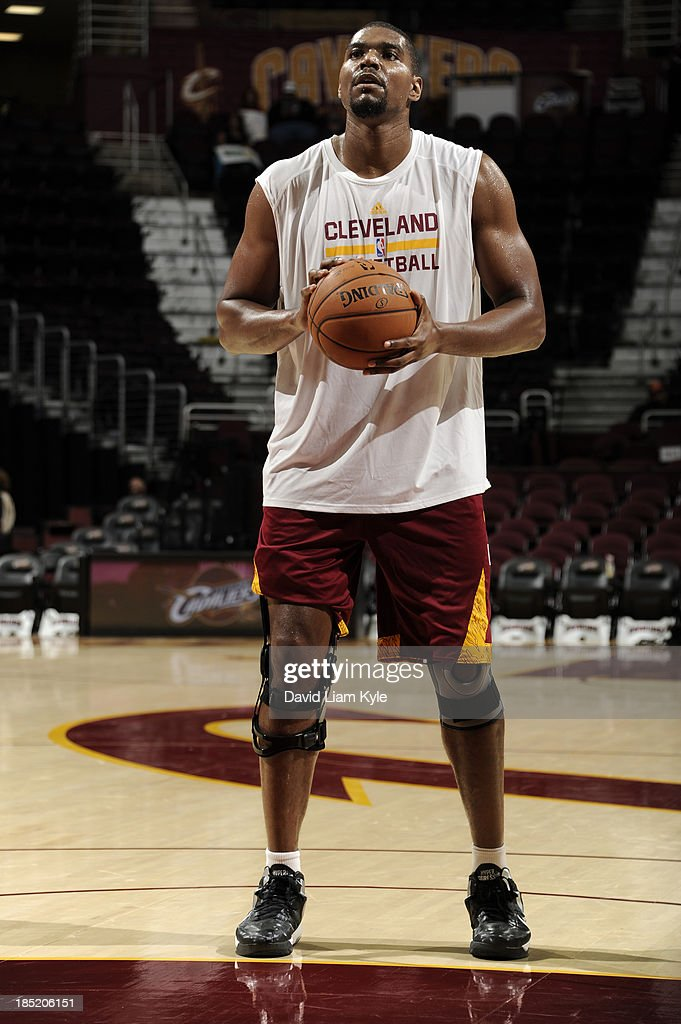 <a gi-track='captionPersonalityLinkClicked' href=/galleries/search?phrase=Andrew+Bynum&family=editorial&specificpeople=630695 ng-click='$event.stopPropagation()'>Andrew Bynum</a> #21 of the Cleveland Cavaliers shoots free throws prior to the game against the Detroit Pistons at The Quicken Loans Arena on October 17, 2013 in Cleveland, Ohio.