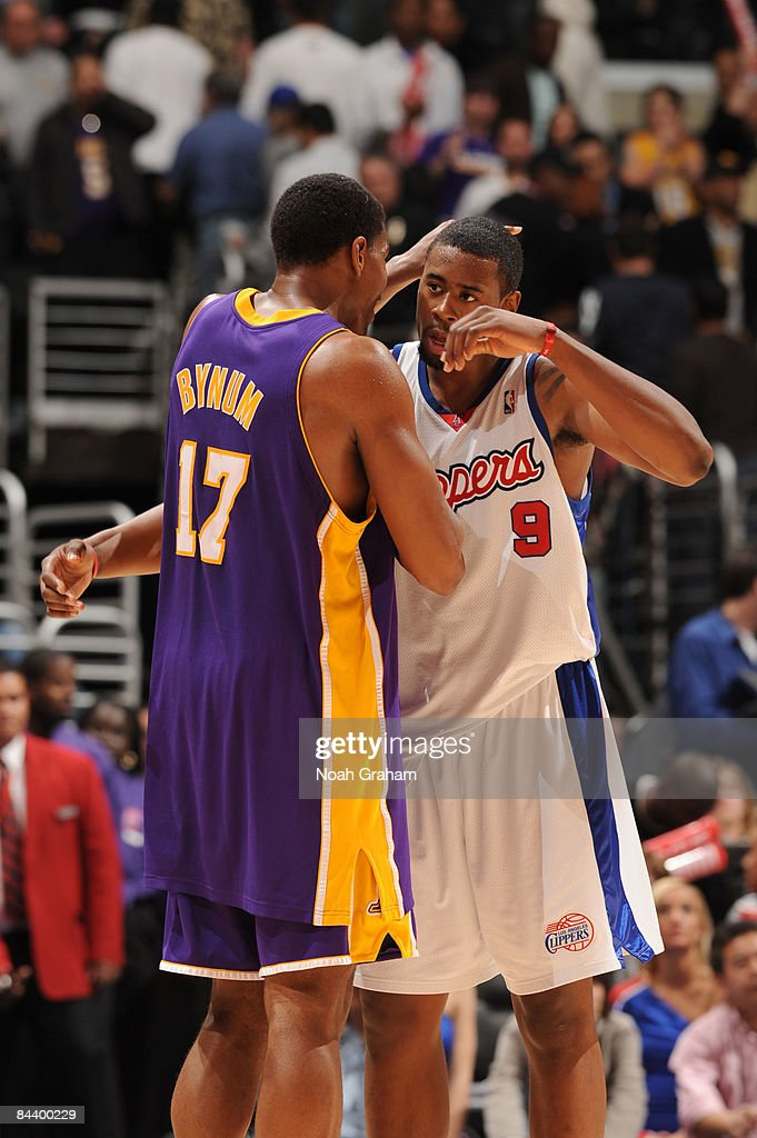 Andrew Bynum #17 of the Los Angeles Lakers and DeAndre Jordan #9 of the Los Angeles Clippers embrace each other following their game at Staples Center on January 21, 2009 in Los Angeles, California. The Lakers defeated the Clippers 108-97.