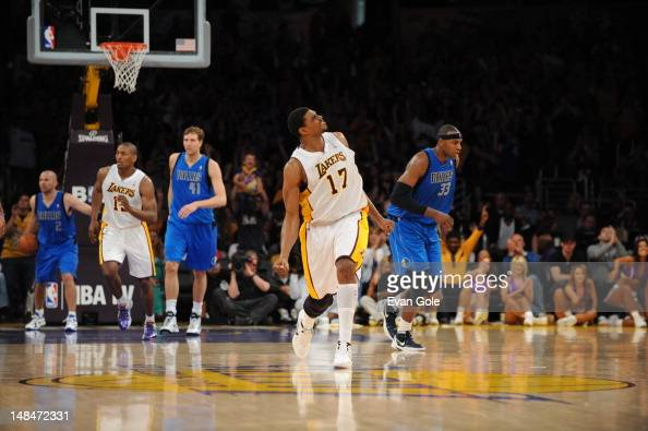 Andrew Bynum of the Los Angeles Lakers celebrates on the court during the game against the Dallas Mavericks on April 15 2012 in Los Angeles...