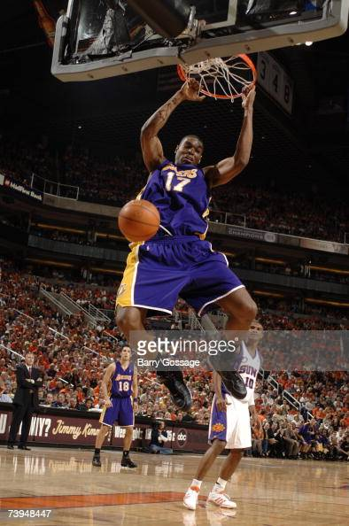 Andrew Bynum of the Los Angeles Lakers dunks against the Phoenix Suns in Game One of the Western Conference Quarterfinals during the 2007 NBA...
