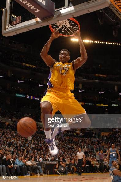 Andrew Bynum of the Los Angeles Lakers dunks during a game against the Washington Wizards at Staples Center on January 22 2009 in Los Angeles...