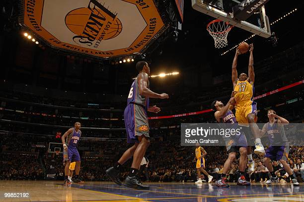 Andrew Bynum of the Los Angeles Lakers goes up for a shot against the Phoenix Suns in Game One of the Western Conference Finals during the 2010 NBA...