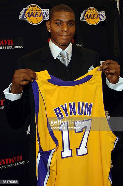 Andrew Bynum of the Los Angeles Lakers is announced as the newest addition to the team from the 2005 NBA Draft at a press conference on June 30 2005...