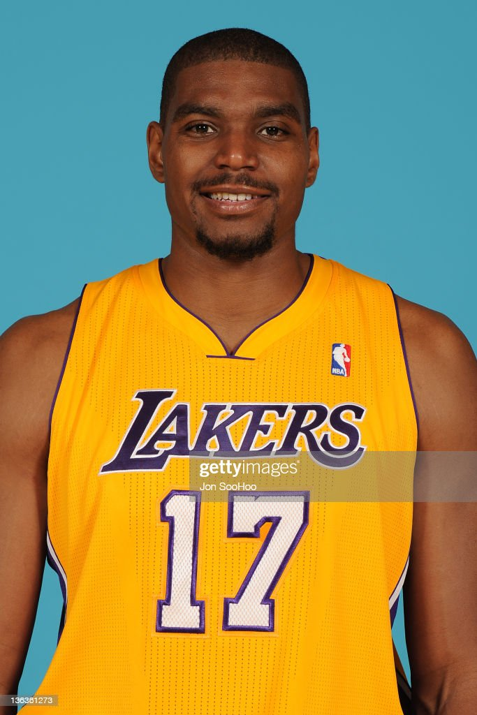 Andrew Bynum #17 of the Los Angeles Lakers poses for a photo during Media Day at Toyota Sports Center on December 11, 2011 in El Segundo, California.