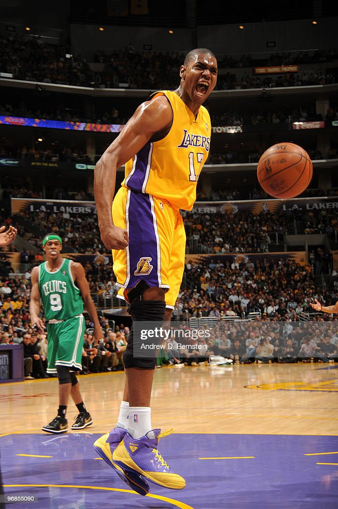 Andrew Bynum #17 of the Los Angeles Lakers reacts after making a shot against the Boston Celtics at Staples Center on February 18, 2010 in Los Angeles, California.