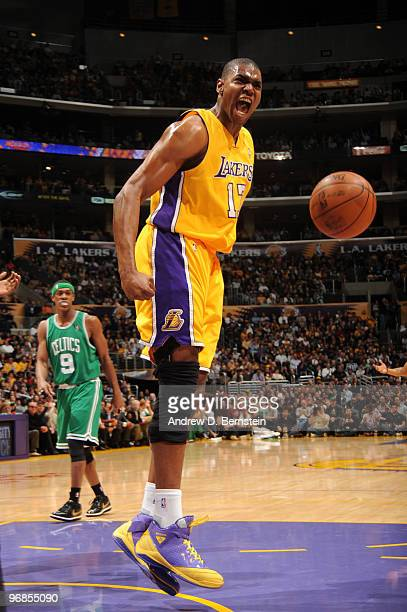 Andrew Bynum of the Los Angeles Lakers reacts after making a shot against the Boston Celtics at Staples Center on February 18 2010 in Los Angeles...