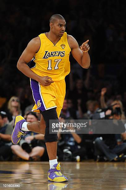Andrew Bynum of the Los Angeles Lakers reacts in the first half against the Boston Celtics in Game One of the 2010 NBA Finals at Staples Center on...