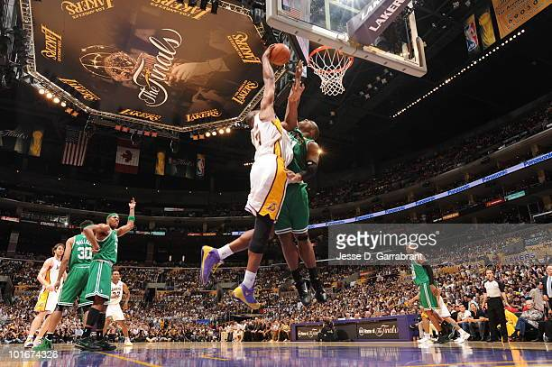 Andrew Bynum of the Los Angeles Lakers shoots against Glen Davis of the Boston Celtics in Game Two of the 2010 NBA Finals on June 6 2010 at Staples...