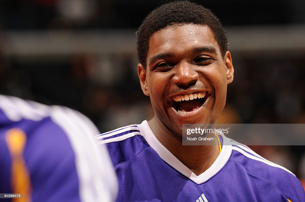 Andrew Bynum #17 of the Los Angeles Lakers smiles during warmups before taking on the Los Angeles Clippers at Staples Center on January 21, 2009 in Los Angeles, California.