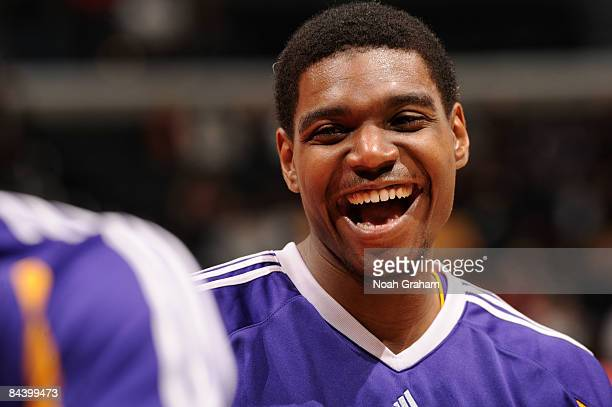 Andrew Bynum of the Los Angeles Lakers smiles during warmups before taking on the Los Angeles Clippers at Staples Center on January 21 2009 in Los...