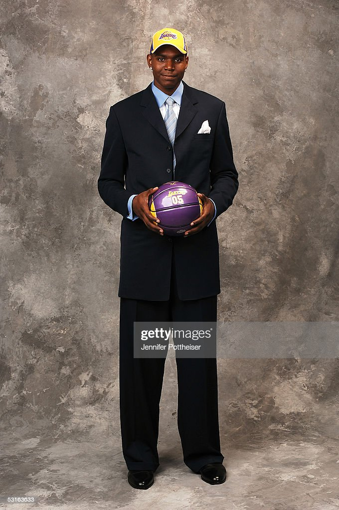 Andrew Bynum selected #10 poses for a portrait during the 2005 NBA Draft on June 28, 2005 at the Theater at Madison Square Garden in New York City.