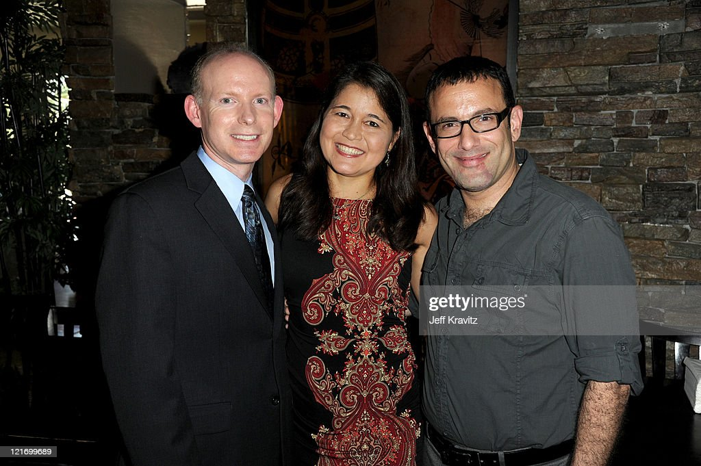 Andrew Byrnes, Isabel Stenzel Byrnes and Marc Slomowitz attend the reception for 'The Power Of Two' world premiere celebration hosted by OneLegacy and Donate Life Hollywood at Sushi Dan on August 21, 2011 in West Hollywood, California.