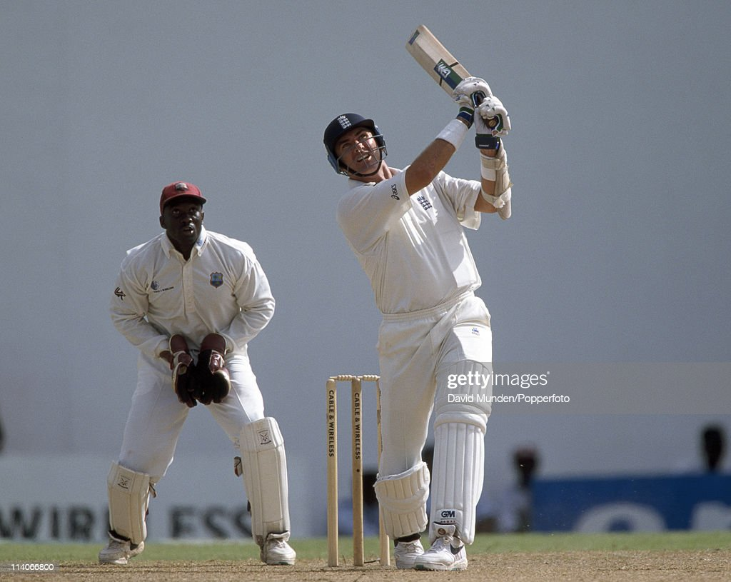 Andrew Caddick batting for England during the 6th Test match against the West Indies at the Recreation Ground in St John's Antigua 24th March 1998...