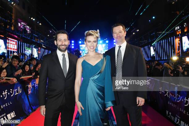 Andrew Calof VP Production of Amblin Partners Scarlett Johansson and Jeff Small President and CoCEO of Amblin Partners attend the World Premiere of...