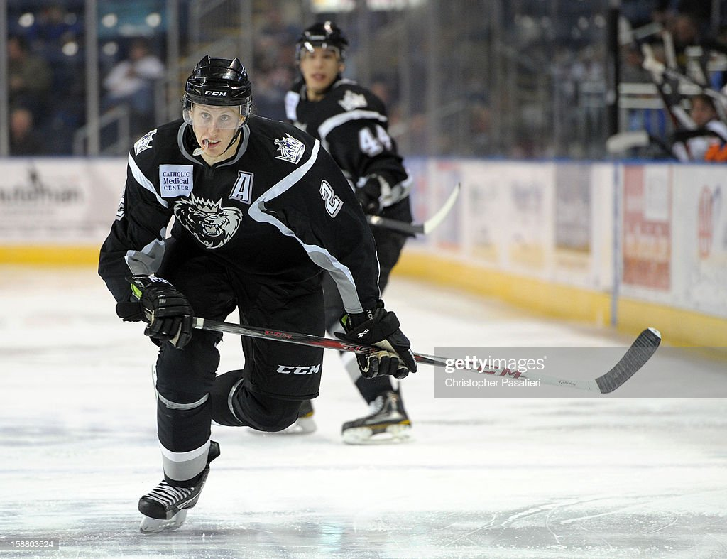 Andrew Campbell #2 of the Manchester Monarchs controls the puck during an American Hockey League game against the Bridgeport Sound Tigers on December 29, 2012 at the Webster Bank Arena at Harbor Yard in Bridgeport, Connecticut.