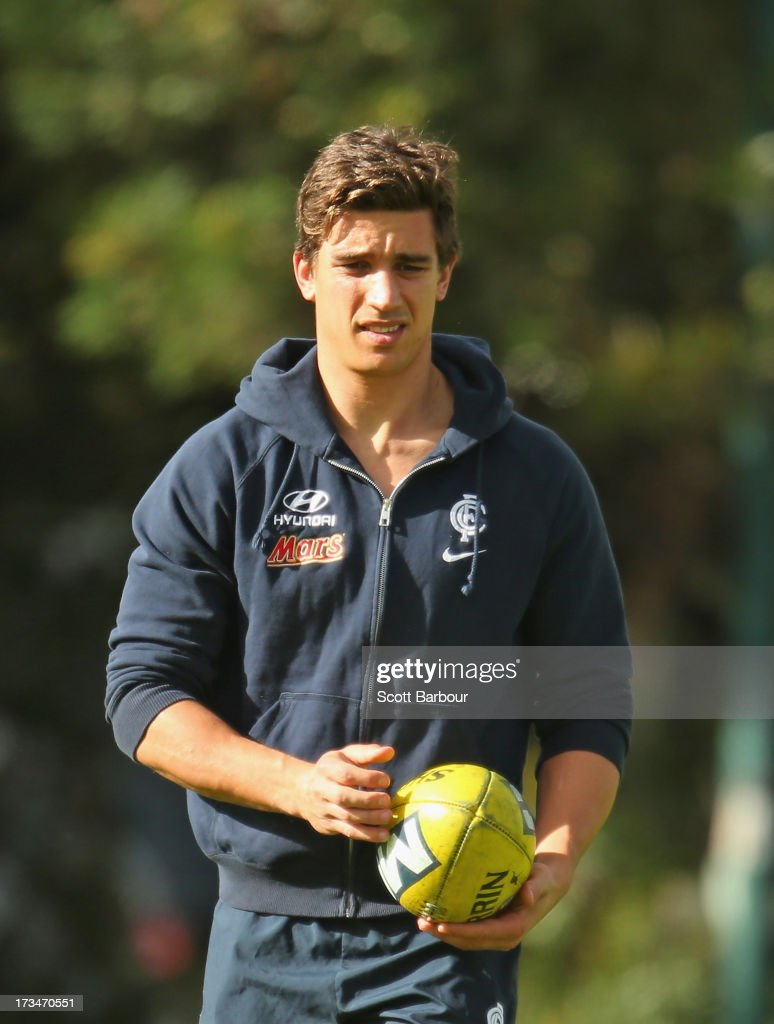Andrew Carrazzo of the Blues looks on during a Carlton Blues AFL Recovery Session at St Kilda Sea Baths on July 15, 2013 in Melbourne, Australia.