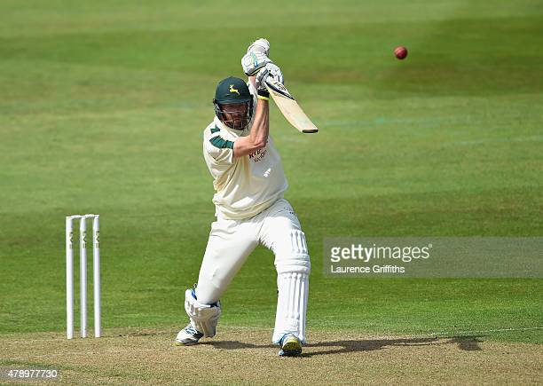 Andrew Carter of Nottinghamshire hits out during the LV County Championship match between Nottinghamshire and Worcestershire at Trent Bridge on June...