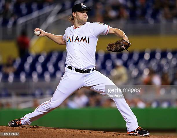 Andrew Cashner of the Miami Marlins pitches during the game against the Atlanta Braves at Marlins Park on September 23 2016 in Miami Florida