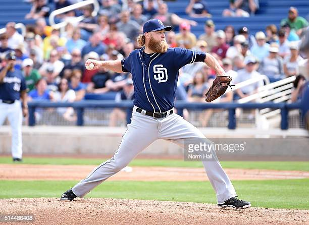 Andrew Cashner of the San Diego Padres delivers a pitch against the Milwaukee Brewers at Maryvale Baseball Park on March 7 2016 in Phoenix Arizona