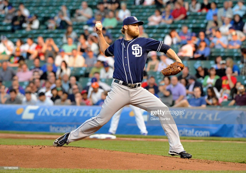 <a gi-track='captionPersonalityLinkClicked' href=/galleries/search?phrase=Andrew+Cashner&family=editorial&specificpeople=5742254 ng-click='$event.stopPropagation()'>Andrew Cashner</a> #34 of the San Diego Padres pitches against the Chicago Cubs during the first inning on May 1, 2013 at Wrigley Field in Chicago, Illinois.