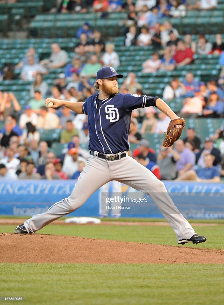 Andrew Cashner #34 of the San Diego Padres pitches against the Chicago Cubs during the first inning on May 1, 2013 at Wrigley Field in Chicago, Illinois.