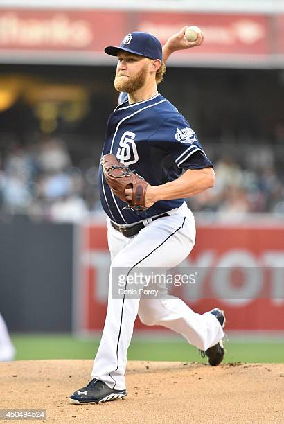 Andrew Cashner of the San Diego Padres pitches during the first inning of a baseball game against the Washington Nationals at Petco Park on June 7...