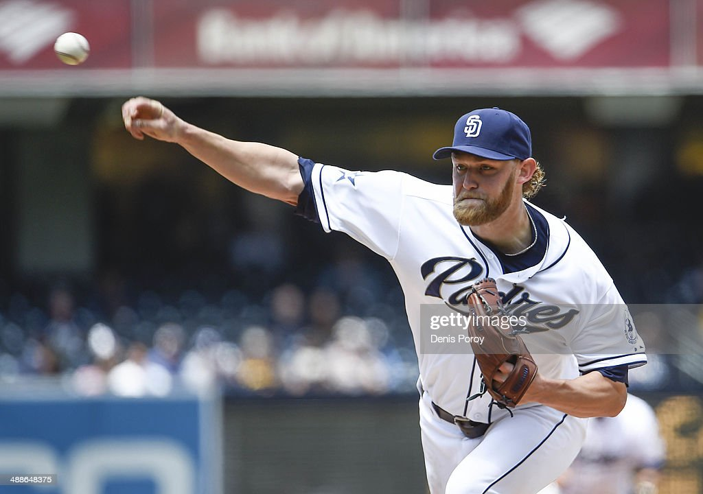 Andrew Cashner #34 of the San Diego Padres pitches during the first inning of a baseball game against the Kansas City Royals at Petco Park May 7, 2014 in San Diego, California.