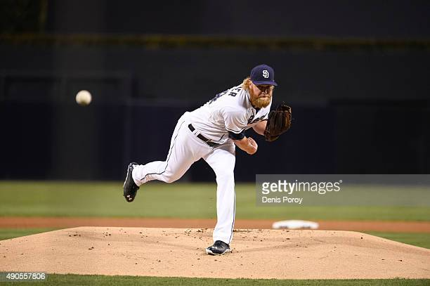 Andrew Cashner of the San Diego Padres pitches during the first inning of a baseball game against the San Francisco Giants at Petco Park September 23...