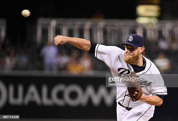 Andrew Cashner of the San Diego Padres pitches during the first inning of a baseball game against the Milwaukee Brewers at Petco Park September 30...