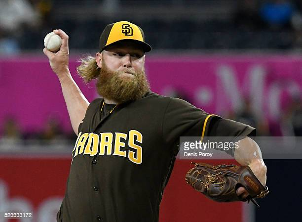 Andrew Cashner of the San Diego Padres pitches during the first inning of a baseball game against the St Louis Cardinals at PETCO Park on April 22...