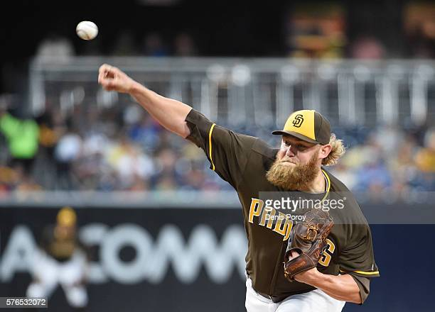 Andrew Cashner of the San Diego Padres pitches during the first inning of a baseball game against the San Francisco Giants at PETCO Park on July 15...