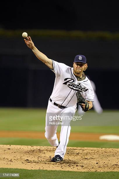 Andrew Cashner of the San Diego Padres pitches during the game against the Atlanta Braves at Petco Park on June 12 2013 in San Diego California The...