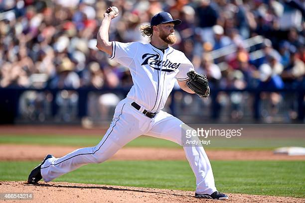 Andrew Cashner of the San Diego Padres pitches during the game against the Texas Rangers at the Peoria Stadium on March 14 2015 in Peoria AZ