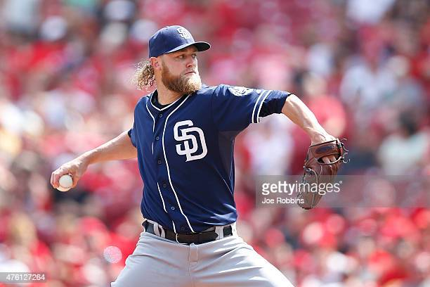 Andrew Cashner of the San Diego Padres pitches in the first inning against the Cincinnati Reds at Great American Ball Park on June 6 2015 in...