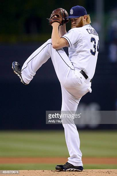 Andrew Cashner of the San Diego Padres pitches in the game against the Los Angeles Dodgers at Petco Park on August 29 2014 in San Diego California