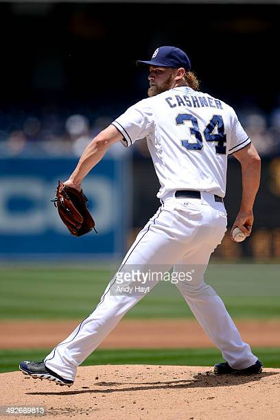 Andrew Cashner of the San Diego Padres pitches in the game against the Kansas City Royals at Petco Park on May 7 2014 in San Diego California