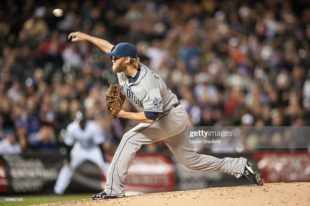 <a gi-track='captionPersonalityLinkClicked' href=/galleries/search?phrase=Andrew+Cashner&family=editorial&specificpeople=5742254 ng-click='$event.stopPropagation()'>Andrew Cashner</a> #34 of the San Diego Padres pitches in the seventh inning of a game against the Colorado Rockies at Coors Field on April 6, 2013 in Denver, Colorado. The Rockies Beat the Padres 6-3.