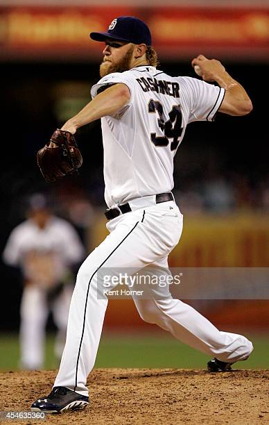 Andrew Cashner of the San Diego Padres pitches in the seventh inning of the game against the Arizona Diamondbacks at Petco Park on September 3 2014...
