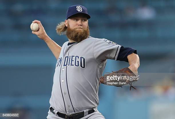 Andrew Cashner of the San Diego Padres throws a pitch against the Los Angeles Dodgers at Dodger Stadium on July 8 2016 in Los Angeles California