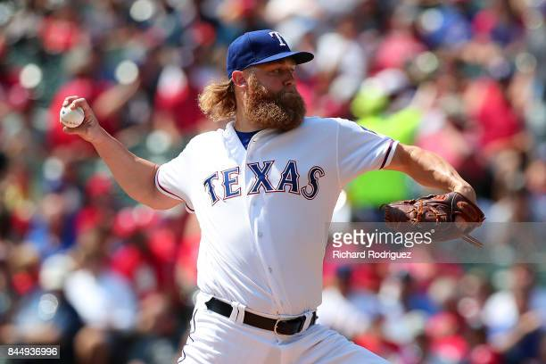 Andrew Cashner of the Texas Rangers delivers a pitchin the second inning of a game against the New York Yankees at Globe Life Park in Arlington on...