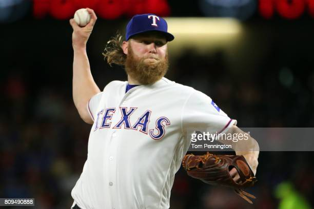 Andrew Cashner of the Texas Rangers pitches against the Boston Red Sox in the top of the fourth inning at Globe Life Park in Arlington on July 5 2017...