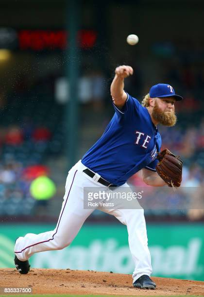 Andrew Cashner of the Texas Rangers throws in the first inning against the Chicago White Sox at Globe Life Park in Arlington on August 18 2017 in...